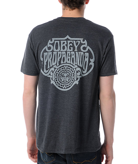 Obey Firewater Heather Charcoal T-Shirt