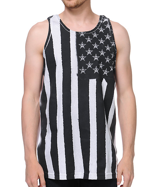 Obey Flag Spray White & Black Tank Top