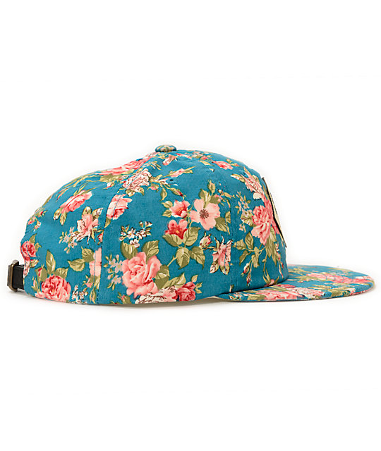 Obey Floral Turquoise Throwback Baseball Strapback Hat