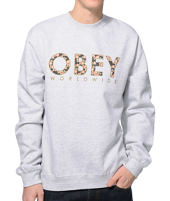 Floral Worldwide Heather Grey Crew Neck Sweatshirt