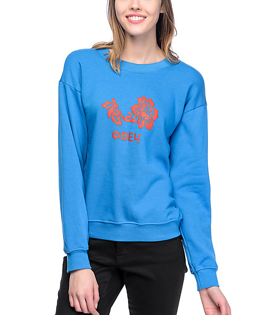 Flower Delancey Blue Womens Crew Neck Sweatshirt