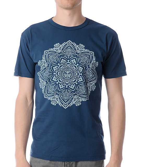 Obey Flower Ornament Antique Dark Blue T-Shirt