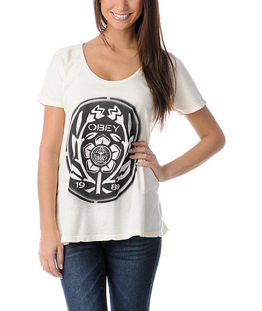 Obey Flower Power Dolman Natural White T-Shirt