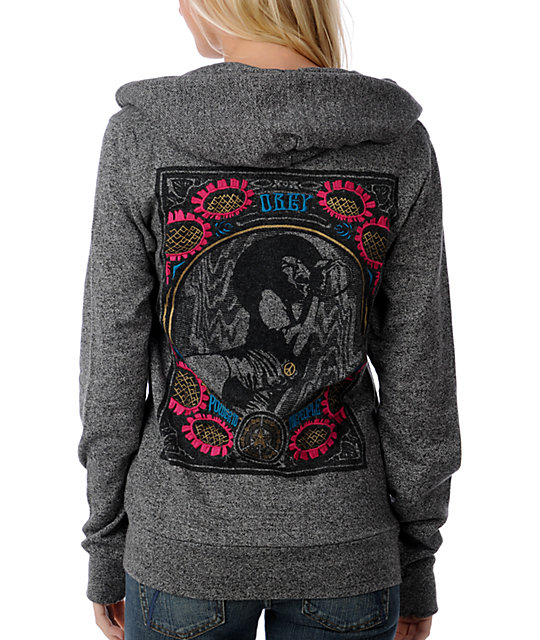 Obey Flower Power Embroidered Charcoal Hoodie