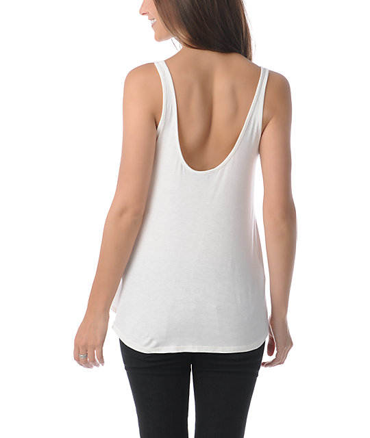Obey Flower Power Natural White Heartbreaker Crop Tank Top