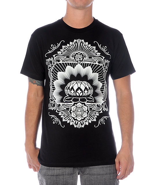 Obey Flower Sheik Glow In The Dark Black T-Shirt