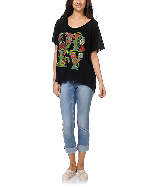 Obey Flower Type Black Harmony Top