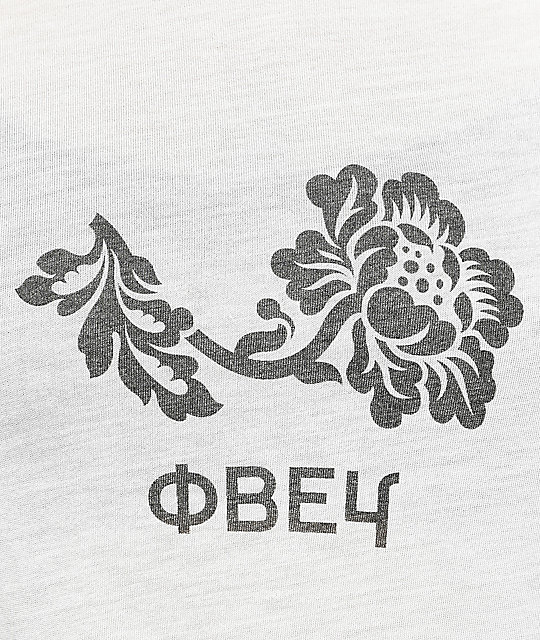 Obey Flower White & Burgundy Baseball T-Shirt