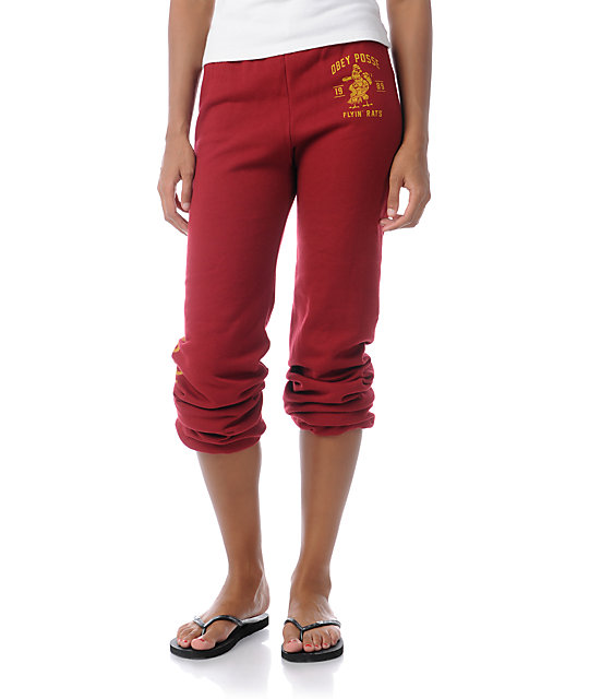 Obey Flying Rats Cranberry Red Sweatpants