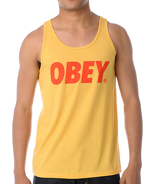 Obey Font Heather Yellow Tank Top