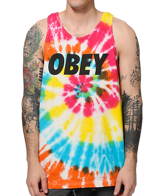 Obey Font Rainbow Spiral Tank Top