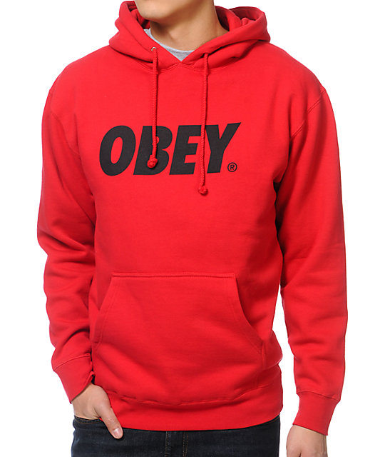 Obey Font Red Pullover Hoodie | Zumiez