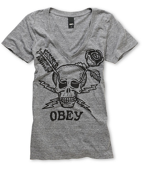 Obey Forces Heather Grey Tri-Blend Deep V-Neck T-Shirt