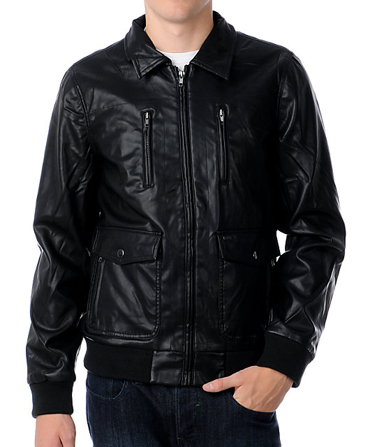 Obey Gallery PU Leather Black Bomber Jacket