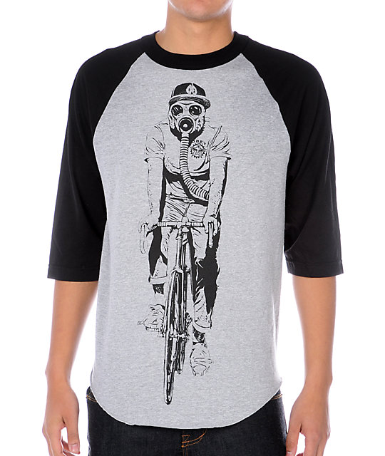 Obey Gas Mask Biker Heather Grey Baseball T-Shirt