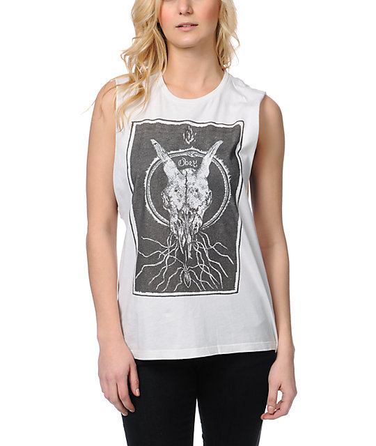 Obey Ghost Skull Natural Muscle Tank Top