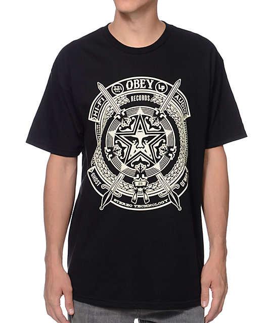 Obey ghosts of war black t shirt at zumiez pdp for Black obey t shirt