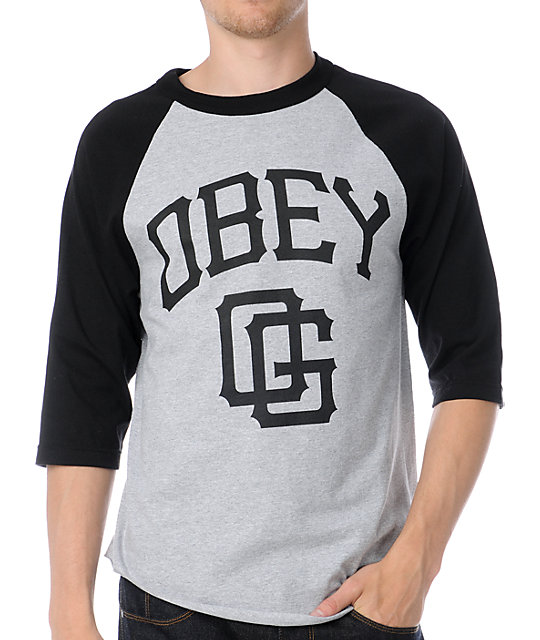 Obey Gigantes Black & Grey Baseball T-Shirt