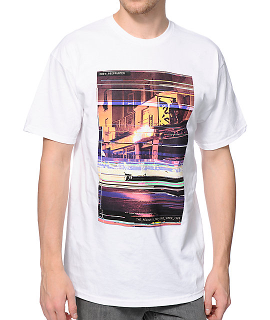 Obey Glitch White T-Shirt