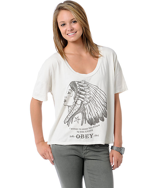 Obey Good Relations To Earth Natural Crop T-Shirt