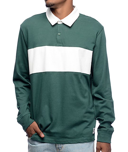 Obey Governors Green White Long Sleeve Polo Shirt