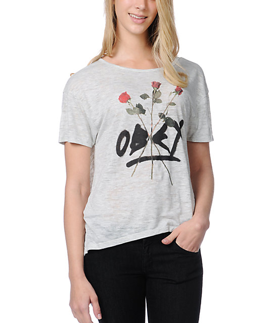 Obey Graffiti Rose Oatmeal Low Back T-Shirt