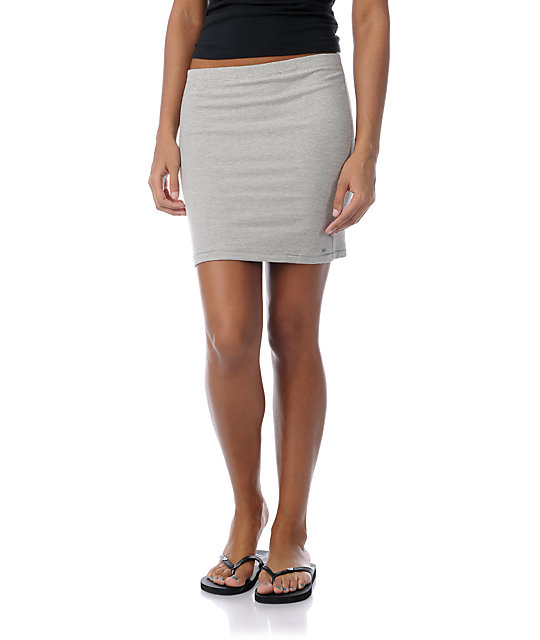 Obey Grey & White Waves Stripe Tube Skirt