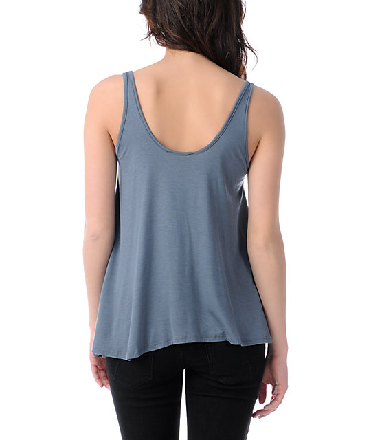 Obey Grey Quilted Love Crop Tank Top