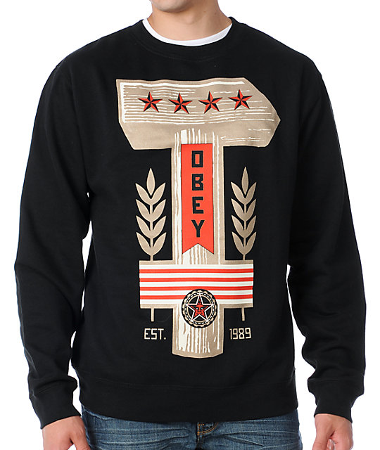 Obey Hammer Crew Neck Mens Black Sweatshirt