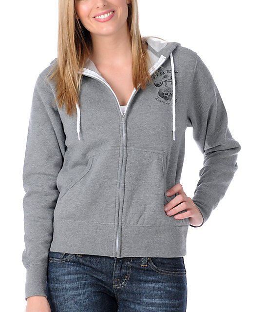 Obey Hand Of Doom Grey Zip Up Hoodie