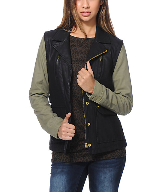 Obey Hearst Black & Army Green Faux Leather Jacket at Zumiez : PDP