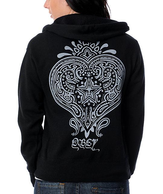 Obey Heart Black Hoodie