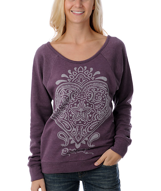 Obey Heart Boyfriend Purple Top