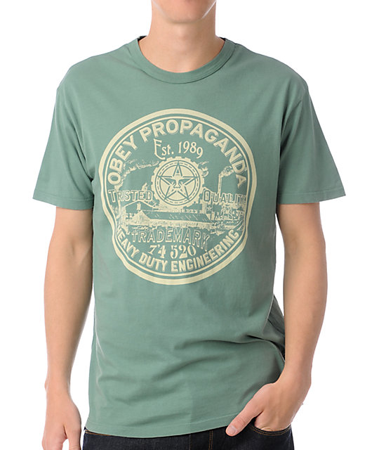 Obey heavy duty engineering green t shirt at zumiez pdp for Heavy duty work t shirts