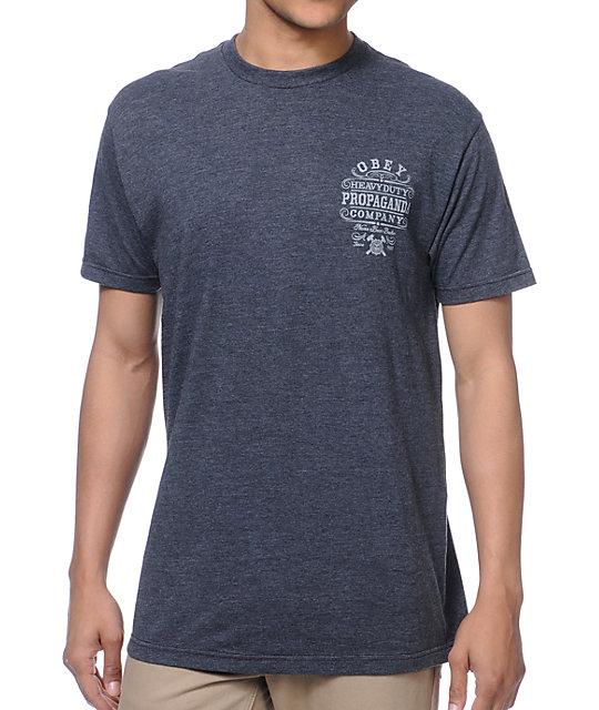 Obey Heavy Duty Propaganda Charcoal T Shirt Zumiez