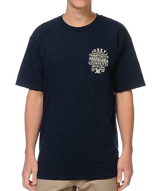 Obey Heavy Duty Propaganda Navy T-Shirt