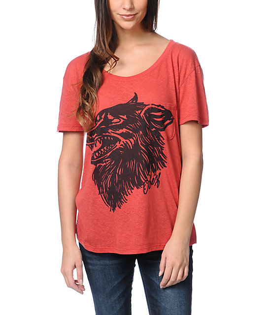 Obey Hell Hound Red Throwback T-Shirt