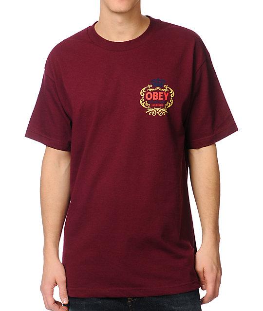 Obey Hi-Class Burgundy T-Shirt
