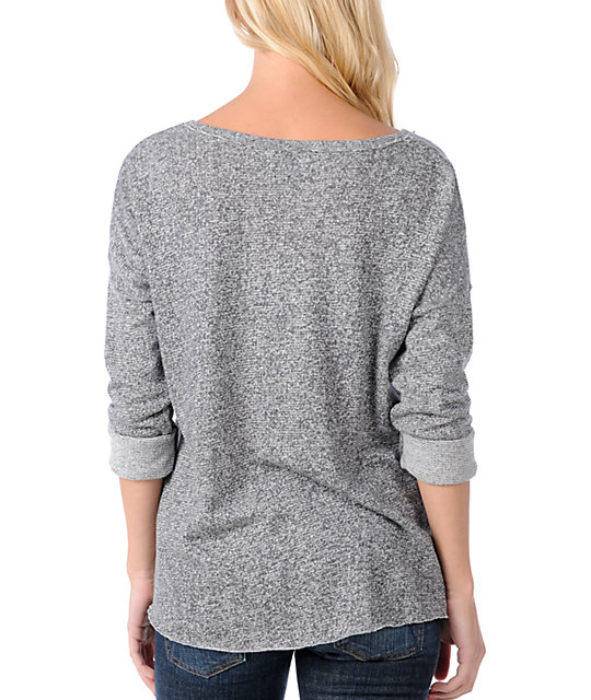 Obey High Class Heather Grey V-Neck Pullover Sweatshirt