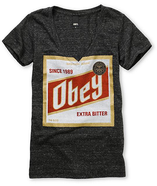 Obey High Life Charcoal Tri-Blend V-Neck T-Shirt