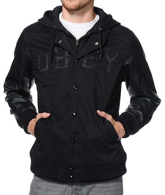 Obey Home Field Black Varsity Hooded Jacket
