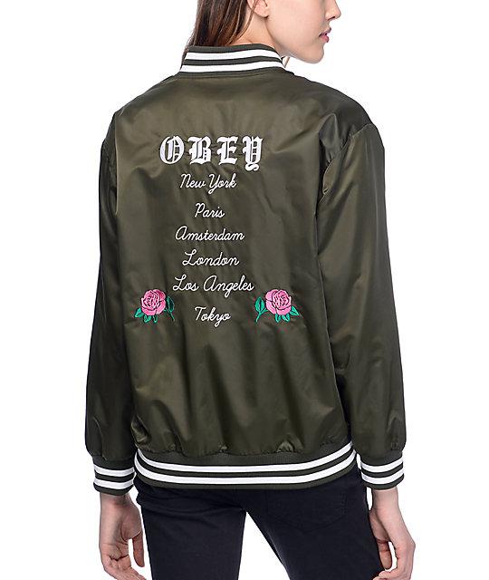 Obey Hooligans Olive Varsity Bomber Jacket | Zumiez