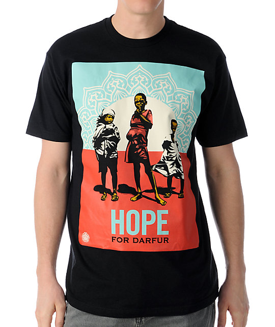 Obey hope darfur black t shirt at zumiez pdp for Black obey t shirt