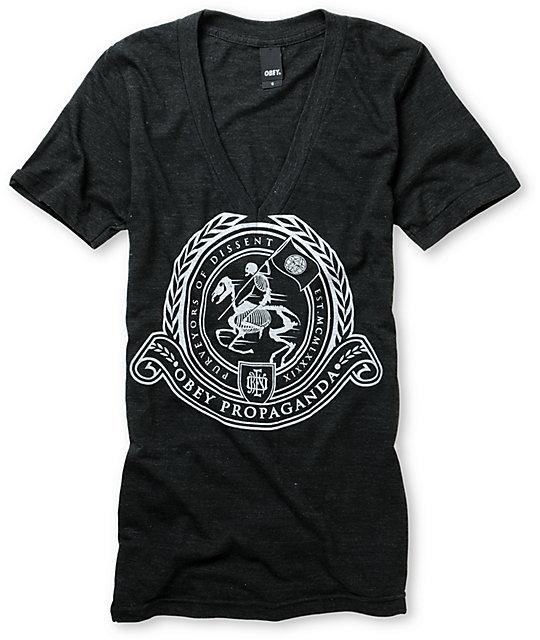 Obey Horseman Onyx V-Neck T-Shirt