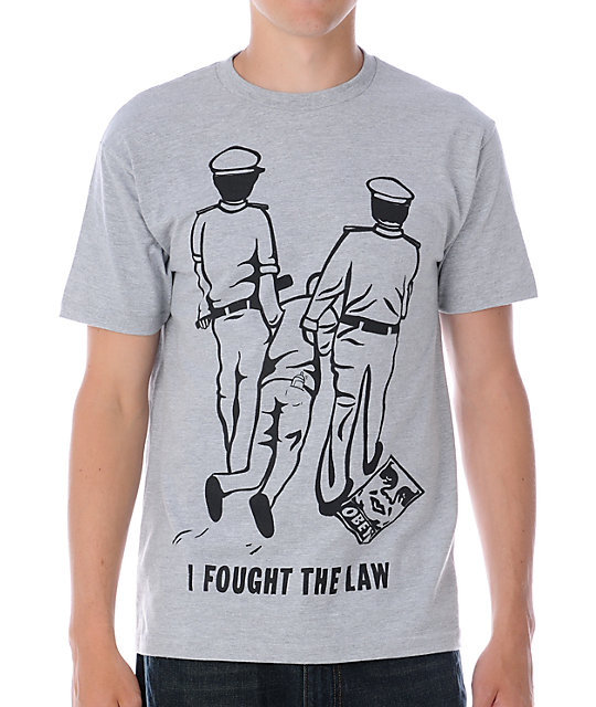 Obey I Fought The Law Heather Grey T-Shirt