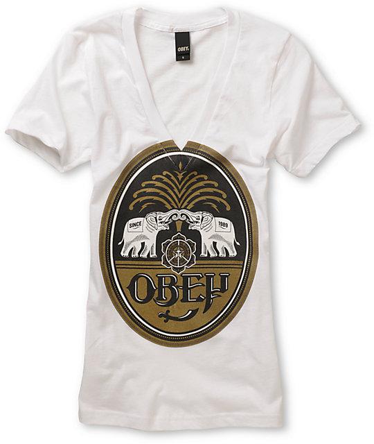 Obey IPA White V-Neck T-Shirt
