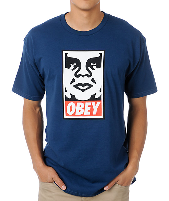 Obey Icon Face Dark Blue T-Shirt