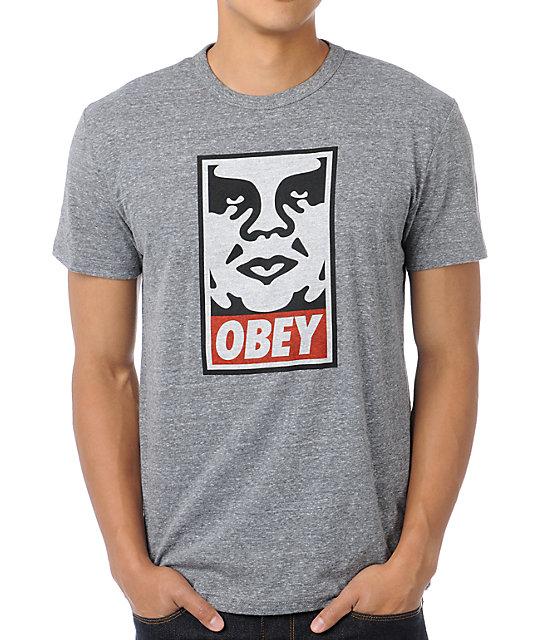 Obey Icon Heather Grey Tri-Blend T-Shirt