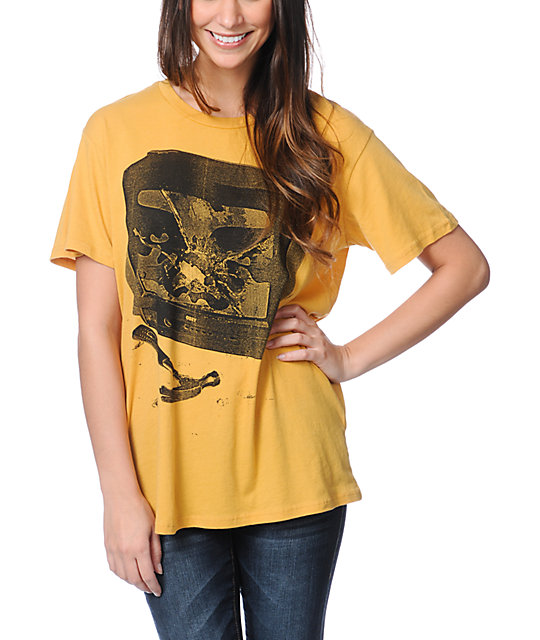 Obey Idiot Box Yellow Tomboy T-Shirt