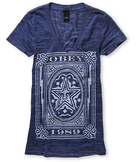 Obey Imperial Label Blue V-Neck T-Shirt